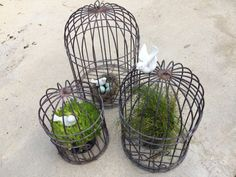 Wire Cages Set Decorative Wire Bird Cages 3 Nesting by TizaVintage, $149.00