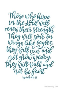 This is a bible verse for strength and is a great one to remember when you are feeling weak or unwell. Hand lettered by The Lettering Tree. They would soar on wings like eagles. Bible Verses About Strength, Encouraging Bible Verses, Scriptures, Verses For Cards, Scripture Cards, Christian Cards, Christian Quotes, Prayer For Studying, Printable Postcards