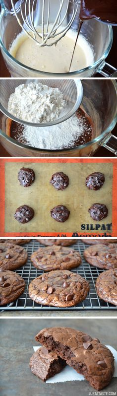 Espresso Chocolate Chip Brownie Cookies from justataste.com #recipe