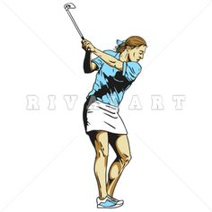 Sports Clipart of Black White Golfing Golfer Teeing Off Woman Womens Girls Graphic Golf Clip Art, Girl Swinging, Clipart Images, Cart, Wonder Woman, Graphics, Black And White, Female, Tees