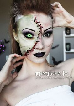 Frankenstein makeup? The contacts she uses are awesome!