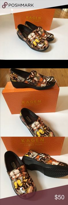 🦋NEW KAGEN WORK SLIP Resistant WORK SHOE CLOG NIB New Kagen slip resistant shoes in butterfly 🦋 print, brown, orange, yellow accents.Simply lovely❤️  -- oh so comfy they cradle your feet! This style runs true to size. Not just for work, they look great with any attire- show your personality!  🚫trades; non negotiable price at this time. This style will sell out fast! Cross listed on eBay. Ships tomorrow! Kagen Shoes Mules & Clogs