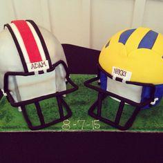 Ohio State vs Michigan Grooms cake. sweetrhi.com  Charleston, SC Ohio State Vs Michigan, Charleston Sc, Grooms, Football Helmets, Wedding Cakes, Disney, Sweet, Wedding Gown Cakes, Candy