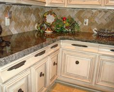 granite kitchen counters  with laminated hand chiseled edge. I like this one a lot!