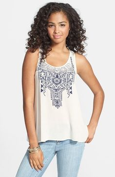 Soprano Embroidered Tunic Tank (Juniors) available at #Nordstrom