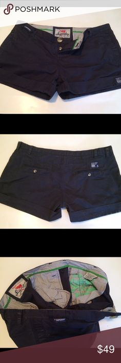 Superdry Limited Edition Shorts great condition Navy Blue. Tons of Superdry details (buttons, hidden pockets). Super Cute, Fun, Casual summer shorts. 100% Authentic Superdry Company Tokyo Dakota Airlift Aviation Corp. Superdry Shorts