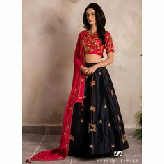 Buy Trendy Navy Blue & Red Colored Party Wear Embroidered Satin-Banglori Silk Lehenga at Rs. Get latest Lehengas for womens at Peachmode. Blouse Lehenga, Lehnga Dress, Silk Lehenga, Dress Skirt, Designer Bridal Lehenga, Bridal Lehenga Choli, Indian Lehenga, Dress Indian Style, Indian Fashion Dresses