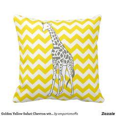 Golden Yellow Safari Chevron with Pop Art Giraffe Pillow