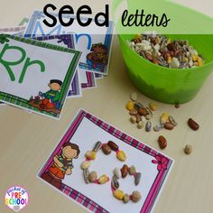 Write letters with seeds for spring plus Plant Needs and Life Cycle Posters FREEBIE. Prefect for preschool, pre-k, and kindergarten. Seeds Preschool, Preschool Garden, Preschool Writing, Preschool Themes, Preschool Science, Preschool Lessons, Spring Preschool Theme, Preschool Centers, Literacy Centers