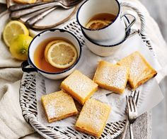 Incredibly simple to make as well as tasting sweet and zesty, these tangy lemon squares are a welcome treat when you hit that mid-afternoon slump. Citrus Recipes, Vanilla Recipes, Desert Recipes, Sweet Recipes, Baking Recipes, Custard Slice, Rhubarb And Custard, Greek Desserts, Fun Desserts