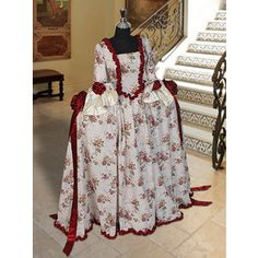 Renaissance or Medieval Summer Dress Floral Print in Antoinette Style Multiple Colors Available