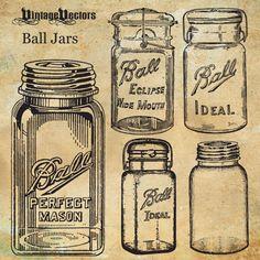 Ball Mason Jars, moonshine glass jar- enlarge and paint on rusty corrugated metal, aged wood or canvas Vintage Mason Jars, Vintage Labels, Vintage Glassware, Glass Storage Jars, Jar Storage, Glass Jars, Ball Canning Jars, Ball Mason Jars, Antique Bottles