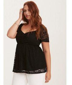 40cbc28425a9 Torrid Women's Lace empire Top Plus Size 2XL V-neck Short Sleeve Black  Floral 70
