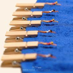 calendarios en miniatura piscina