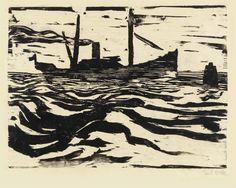 Emil Nolde Fischdampfer, 1910 woodcut 38 x 47.5 cm edition of 11