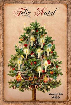 Violeta lilás Vintage: Cartões Postais Vintage Natal