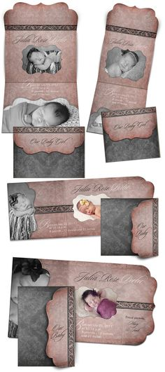 Birth Announcement Templates - JULIA ROSE  - (8) Folded Luxe Card  Templates for Photographers
