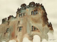 Famous places in Aquarelle painting is a project by Korean artist and illustrator Sunga Park. Sunga currently lives and works in Busan, Rep of South Korea. Watercolor City, Watercolor And Ink, Watercolor Illustration, Watercolor Paintings, Painting & Drawing, Watercolors, Colour Architecture, Watercolor Architecture, Chinese Architecture