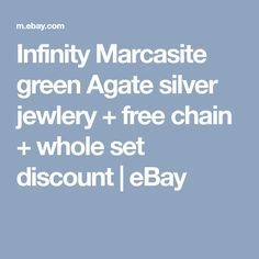 Infinity Marcasite green Agate silver jewlery + free chain + whole set discount | eBay