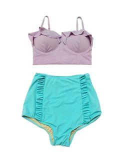Lavender Purple Top and Mint High waisted waist Highwaist Shorts Knickers Bottom Vintage Swimwear Swimsuit Bikini Swimming Bathing suit S M