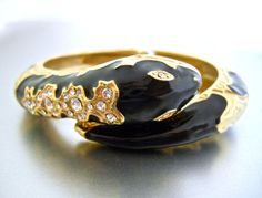 Black Snake Serpent Hinged Bracelet Enamel Gold by RenaissanceFair