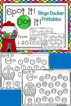 Engaging, fun, hands-on math activities! Just print and add bingo daubers. It's that easy! Students will build their number recognition skills as they work with numbers from 1 to 20. This download includes one page for each number. Numbers are grouped in sets of five (1-5, 6-10, 11-15, and 16-20). Perfect for small group time, centers, morning work, fast finishers or RTI.