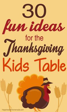 30 Fun Thanksgiving Kids Table Ideas - love these ideas! Lots of great ways to make Thanksgiving special for the kids! Thanksgiving Crafts For Kids, Thanksgiving Centerpieces, Thanksgiving Parties, Thanksgiving Activities, Kids Crafts, Happy Thanksgiving, Thanksgiving Countdown, Hosting Thanksgiving, Thanksgiving Turkey