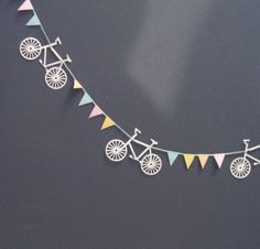 bicycle + bunting - How great would that be for a missionary farewell. Bicycle Themed Wedding, Bicycle Party, Bicycle Birthday Parties, Bicycle Decor, Bicycle Design, Paper Bunting, Bunting Garland, Party Garland, Diy Garland