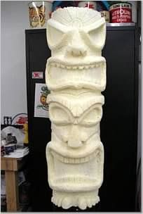 Tiki Totem pole sculpture, I used spray foam over a cardboard tube, shape and sanded it, when that was done I sprayed on a few coats of polyester primer, filled in any small defects and srayed a coat of gel coat over it, used a sray release coat over this and made a mold using RTV silicone, and made a mother mold to hold it in shape with fiberglass, here are a few pics of what it looks like