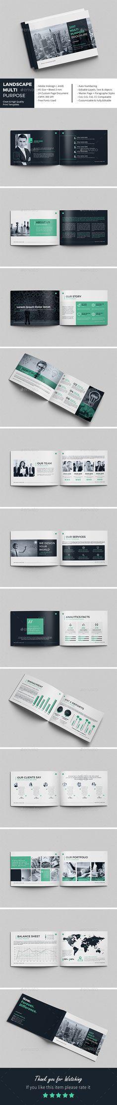 Landscape Multi-Purpose Brochure  — InDesign Template #brochure design #brand…