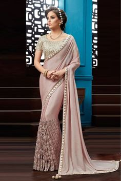 Pink Colour Chiffon Fabric Party Wear Saree Comes with matching blouse. This Saree Is crafted with Thread Work,Embroidery,Lace Work This Saree Comes As a Semi stitched Which Can Be Stitched Up to Size. Sari Blouse, Lace Saree, Satin Saree, Saree Dress, Saree Blouse Designs, Saree Floral, Chiffon Saree Party Wear, Party Wear Dresses, Party Wear Sarees