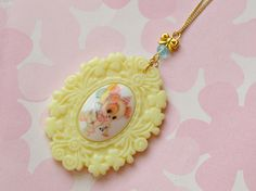 Fairy kei, lolita fashion, cameo pendant, animal, kitsch, kawaii, pastel, summer, spring, pendant necklace