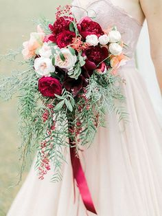 Love the colors in this bouquet. I wish it had a dahlia and bigger leaves on the bottom portion like the peach bouquet on top. Burgundy Wedding, Red Wedding, Floral Wedding, Fall Wedding, Bridal Flowers, Flower Bouquet Wedding, Peach Bouquet, Blush Flowers, Bride Bouquets