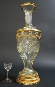 A large Baccarat Crystal and Gilt-bronze Vase. Baccarat Crystal, Crystal Decanter, Crystal Vase, Bronze, Opaline, Bottle Crafts, Urn, Antique Jewelry, Barware