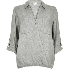River Island Light grey wrap front blouse ($68) ❤ liked on Polyvore featuring tops, blouses, grey, women, draped blouse, draped v neck top, wrap front top, button front blouse and gray blouse