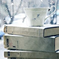 coffee, snow, a pile of books:)