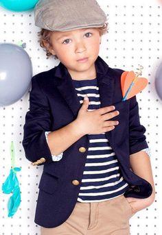 toddler outfit, kids fashion, preppy, blazer, stripes, navy blue