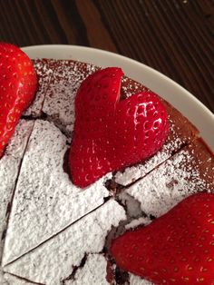 Chocolate cake with heart shaped strawberries!