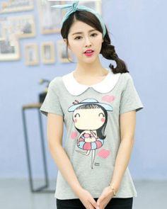 Cheap cartoon girl t shirt plus size Peter Pan collar casual tee