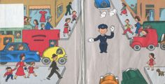 """Endpapers from """"Policeman Small"""", Lois Lenski 1962"""