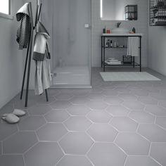 Carrelage sol et mur gris clair effet béton Hexo l.25.8 x L.29 cm