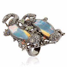 Zoom image    1  2   Alternative views     Fantasie Two Company Ring    £19,900   Created in 18ct white gold and set with 4.18ct black diamond, 0.07ct brown diamond, 0.24ct sapphire, 0.25ct orange sapphire, 0.34ct yellow sapphire, 0.24ct green garnet and two iridescent opals totalling 13.32ct, this one of a kind ring will look beautiful with any day or evening outfit. Wendy Yue                         Fantasie Two Company Ring...