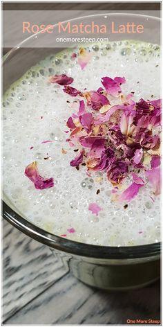 Rose Matcha Latte Recipe from One More Steep Matcha Latte Recipe, Dairy Free Alternatives, Blender Bottle, Organic Roses, Simple Syrup, Rose Buds, Potpourri, Mason Jars, Tea Cups