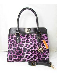 Michael Kors Purple Large Astrid Leopard Leather Satchel