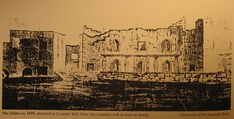 1839 Lysander Wells (Sketch of the Alamo Church Façade & South Side of the Convento) Fort Sam Houston, Mexican American War, Spanish Style, Texans, History Books, Wild West, Cemetery, San Antonio, Facade