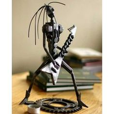 Awesome #AutoPart #Art Punk Metal Guitarist II Auto-parts Sculpture