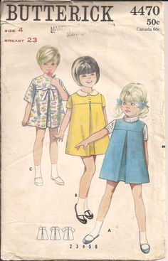 Vintage Sewing Pattern 1960s Butterick 4470 Little Girl's Dress or Jumper  $4.75