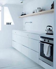 simple, white kitchen