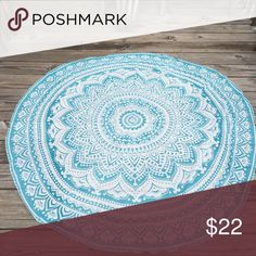 Turquoise and white chiffon mandala roundie This mandala roundie is made of lightweight chiffon and measures approx.5ft in diameter. Perfect for use as home decoration or carried around as a lightweight alternative to a beach towel. Accessories Scarves & Wraps