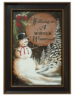 Framed Walking Winter Wonderland by artist Mary Hammerschmidt. Kp Creek Gifts, Winter Wonderland, Primitive, Snowman, Framed Prints, Floral, Holiday, Artist, Mary